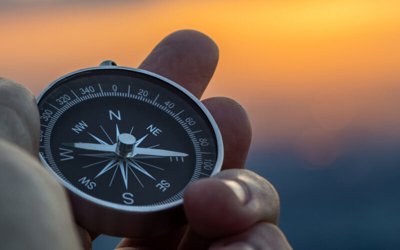 Compass in the sunset