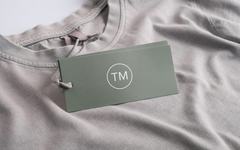 Trademarks tag on t-shirt
